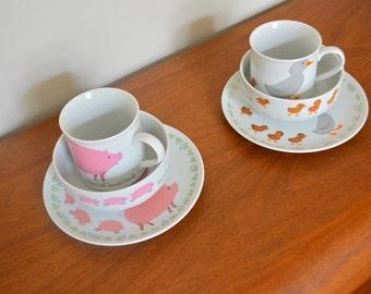 Vintage 80s Japan Farm Animal Theme Child's Plate, Cup and Bowl Set. Pig Duck Pattern Children Dinner Set Tableware. Ceramic Porcelain Ware