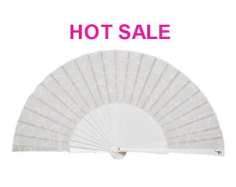 "Wedding favor - wedding accessories - bridal folding hand fan ""Pure White"" - Free Shipping Worldwide"