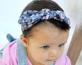 Fox Gray Head wrap,  Bow Headband. Baby girl, newborn , Headwrap turban boho