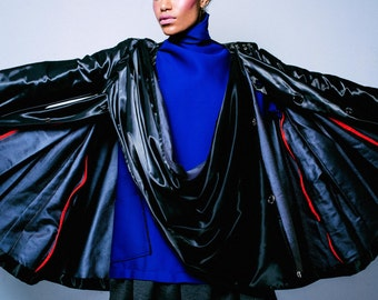 Shiny Waterproof Double Faced Black PVC Jacket, Wrap Scarf, Red Piping