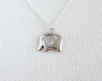 Cute Elephant Necklace, Sterling Silver Chain, Quirky Silver Animal Tiny Petite Simple Jewelry