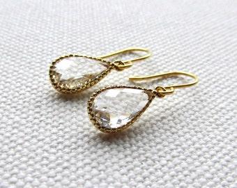 Clear Crystal Earrings Gold Tear Drop Earrings Modern Earrings Bridesmaid Wedding Danlge