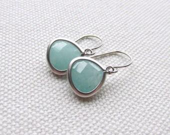 Sea Foam Earrings Amazonite Silver Dangle Earrings Mint Bridal Earrings Light Blue Green