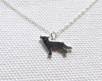 Silver Wolf Necklace, Sterling Silver Chain, Tiny Petite Simple Jewelry, Quirky Animal
