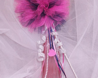 Any Color Tulle Pom Wand, Flower Girl Wand, Tulle Wand, Play Wand, Birthday Wand, Princess Wand, Costume Wand, Girls  Photo Prop