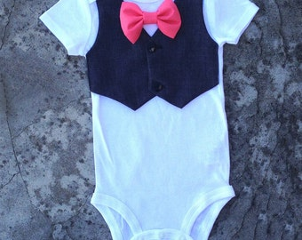 Baby boy clothes, Baby suit vest onesie, infant boy clothes, baby boy outfits, gray vest coral bow tie, baby bow tie outfit, wedding outfit