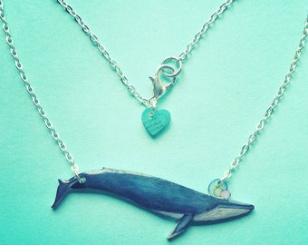 Blue Whale necklace. Glossy whale charm pendant, perfect gift for whale-lover or marine biology student.
