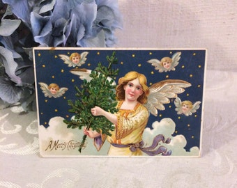 Stunning Merry Christmas Antique Postcard, Angels Small Xmas Tree, 1910 Edwardian, Made Germany, Girl, Starry Night, Vintage