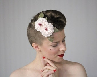 """Champagne Hair Clip, Blush Headpiece Flower, Bridal Hair Flower, Wedding Hair Accessory, Light Ivory Floral, 1950s - """"Rose Water Champagne"""""""