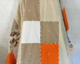Boho Quilt Hippie Quilt Bohemian Quilt Orange Bedding Mushroom Decor Patchwork Quilt Homemade Quilt Twin Size Handmade Quilt Retro Quilt