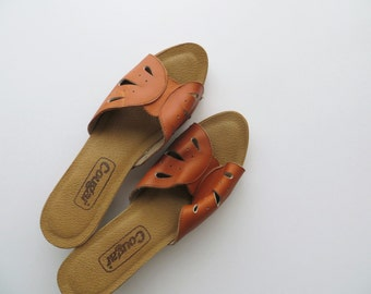 70s Cougar Clogs Sandals, Chunky Leather Mules, Slip On Wedges Beach Sandals Women US Size 10