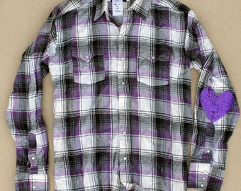 Grunge flannel shirt mickey mouse the sorcerers by for Mens flannel shirt with elbow patches