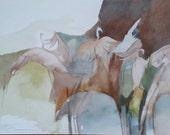 "Laguna Atascosa Series  "" Tour-jete (Jump-turn) of the Sandhill Cranes""   original one of a kind watercolorr"