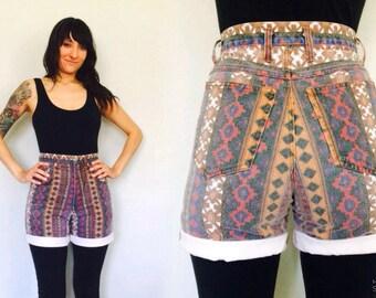 90s Aztec Print Denim Shorts / High Waist Jean Shorts / Abstract / Southwest / Funky