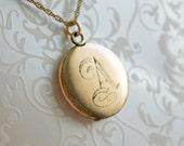 "Antique Initial A Locket, monogram A locket, gold-filled letter A locket, round gold-filled locket, 1900s locket, letter ""A,"" initial ""A"""