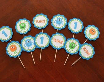 Monster Cupcake Toppers Set of 12, Monster Bash cupcake toppers