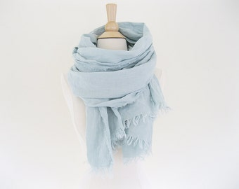 Linen Scarf with Fringe Editors Picks, Linen Wrap Scarf, Trending Now Lightweight Scarf