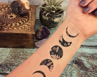 Temporary Tattoo - Lunar Nature - Moon Phase Tattoo - Nature Tattoo - Whimsical Tattoo