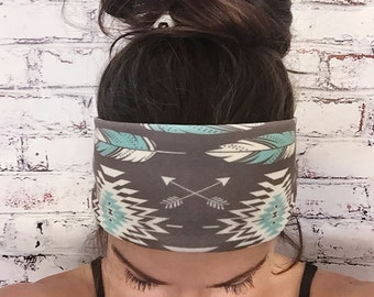 Yoga Headband - Native Roots - Brown & Turquoise - Eco Friendly