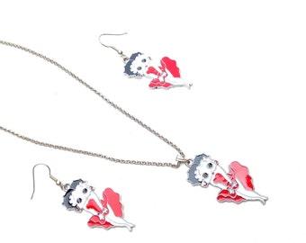 Betty Boop necklace earrings comic geek comical jewelry set rockabilly multiple colours costume jewellery