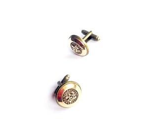 Handmade vintage button cufflinks symbol character Asian gold bronze geek fathers day bakelite plastic