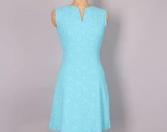 1960s Sheath Dress // Blue Shift Dress // 27 inch waist  dress (xs-small)