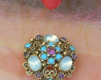 1960's Florenza Brooch - Opals, Turquoise, Amethyst, Signed, Art Deco - Vintage - Stunning!