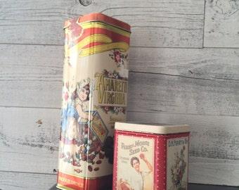 Vintage Tins - Amaretti Virginia - Ferry Morse Seed Co - Vintage Cookie Tin - Gardening Tins - Random Vintage Tins Floral - Flower Tins