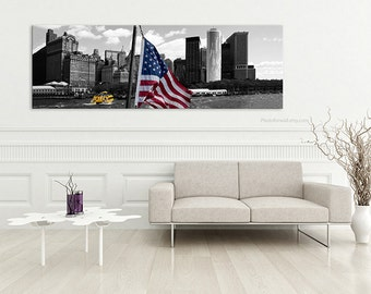 American flag New York Photography/black and white photography/NYC art/large wall decor in canvas art /boys room decor/New York skyline