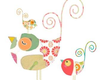 abstract art bird print, baby girl nursery decor, bird nursery art, nursery wall art, red and green nursery wall art, modern nursery art