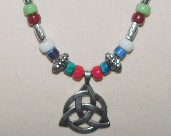 Viking necklace Celtic Knot Tibet silver beads # 7