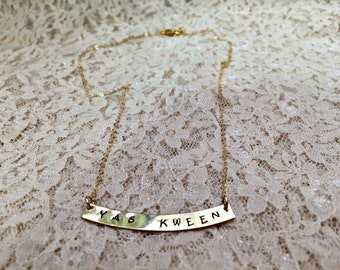Gold Broad City Inspired Yas Kween Necklace, Yas Queen Necklace, 14k Gold or Sterling Silver Name Plate Queen Necklace