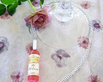 Rose' wine bottle pendant necklace - wine jewelry - plastic wine pendant - silver chain necklace - mini wine bottle necklace - wine gift