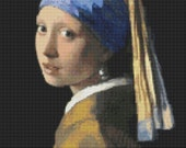 Woman Cross Stitch Kit, The Girl with the Pearl Earring by Johannes Vermeer, Art Cross Stitch, Embroidery Kit