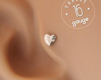Tragus earring, Heart tragus earring, tragus 16G, tragus BioFlex, tragus piercing, labret piercing,tragus earring flat back,