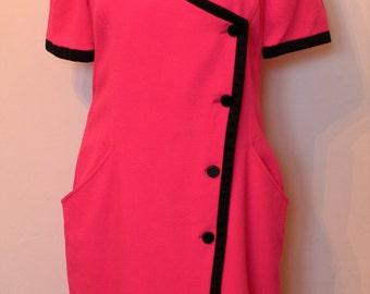 Fabulous Ungaro Hot Pink Paralelle Paris Label Designer Dress Vintage 80's