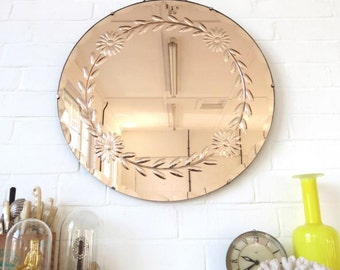 Vintage Large Round Art Deco Bevelled Edge Wall Mirror Engraved Pattern