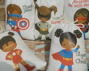 """African American Girl Superheros Kids Favor bags Birthday party or School events for Treat's or gift  personalized 5"""" X 7"""" or 6"""" X 8"""" Qty 10"""