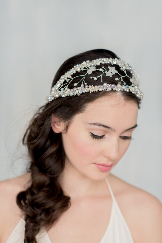 Double Headband, Crystal Crown, Double Crown, Modern Tiara, Silver Halo, Crystal Headpiece, Purple Hair Accessory, Bridal Headband, MAURELLE