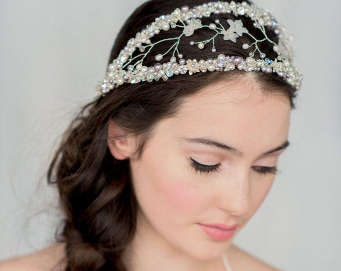 Double Headband, Crystal Crown, Double Crown, Modern Tiara, Silver Halo, Crystal Headpiece, Purple Hair Accessory, Bridal Headband, MAURELLE
