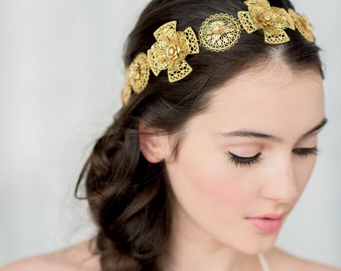 Gold Bridal Tiara, Gold Headpiece, Queen Crown, Bridal Headband, Regal Crown, Brass Headpiece, Gold Wedding Crown, Medieval Crown, OLEENA