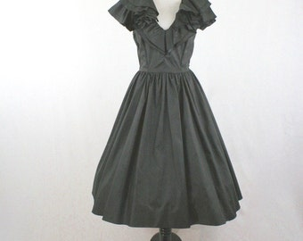 1980's Black Ruffled Neck Full Skirt Dress LBD