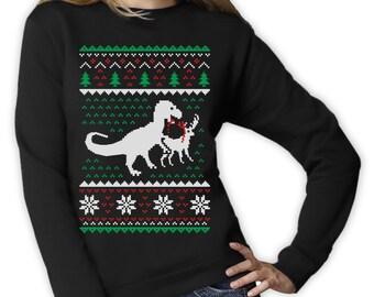 T-Rex Vs. Reindeer Ugly Christmas Sweater - Women's Sweatshirt