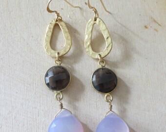 Smoky quartz earrings, chalcedony earrings, dangle gold earrings, stone gold earrings