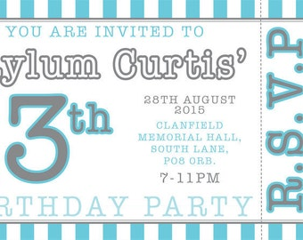 Ticket style retro stripe birthday party invitations printable