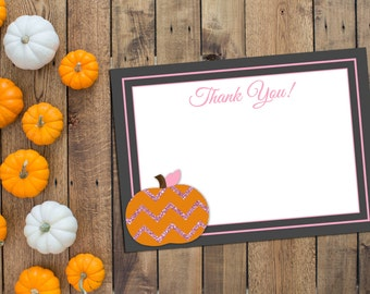 Thank You Note - Little Pumpkin Thank You Note - Little Pumpkin Baby Shower - Fall Baby Shower - Pink Glitter - INSTANT DOWNLOAD - Printable