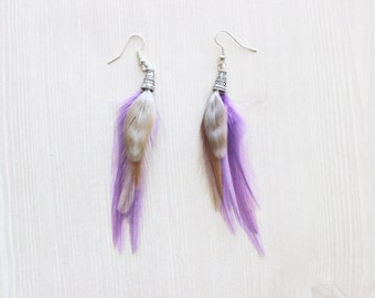 Lavender and Light Brown Feather Earrings