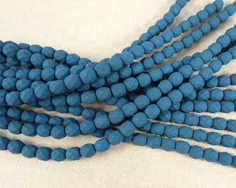 Czech Beads, 6mm Czech Glass Fire Polished Beads, 6mm Faceted Round Beads - Saturated Matte Navy Blue (FP6/SM-29530) - Qty. 25