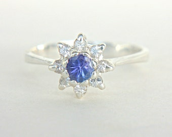 Natural Tanzanite White Sapphires Ring Sterling Silver Tanzanite Sapphire Engagement Ring Tanzanite Engagement Ring Size 5.5 Engagement Ring