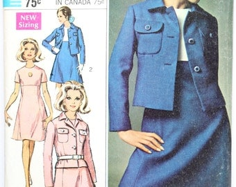 Vintage 1960s Womens Shift Dress, Skirt, and Jacket Sewing Pattern Simplicity 4589 Size 16 Bust 38